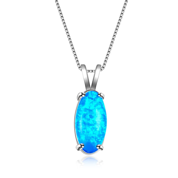Blue Opal & Fine Silver-Plated Oval Pendant Necklace - streetregion