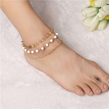 18k Gold-Plated & White Beaded Anklet - streetregion