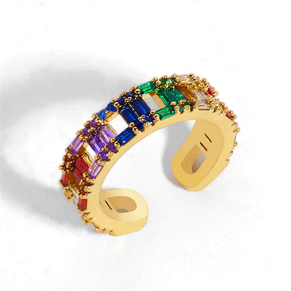 Blue Crystal & Goldtone Open Band Ring