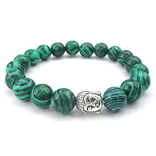 Jewelry Womens Natural Energy Stone Malachite Classic Beads Stretch Bracelet, Link Wrist Buddha Mala Bracelet, Green Silver,10mm