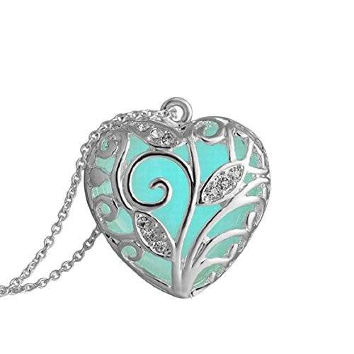 Aqua Blue Tree Heart Glow In The Dark Pendant Necklace