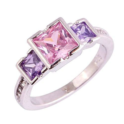 6mm*6mm Princess Cut Cz Created Pink & Purple Stone Women's Ring US Size