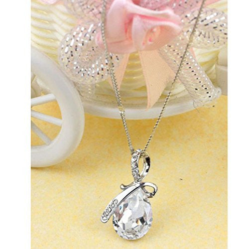 Lady's Rhinestone Chain Crystal Pendant Necklace Jewelry Gift
