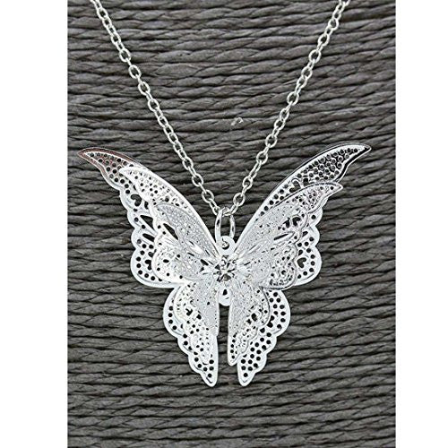 Women's Pendant Lovely Silver Butterfly Pendant Chain Necklace Alloy Jewelry