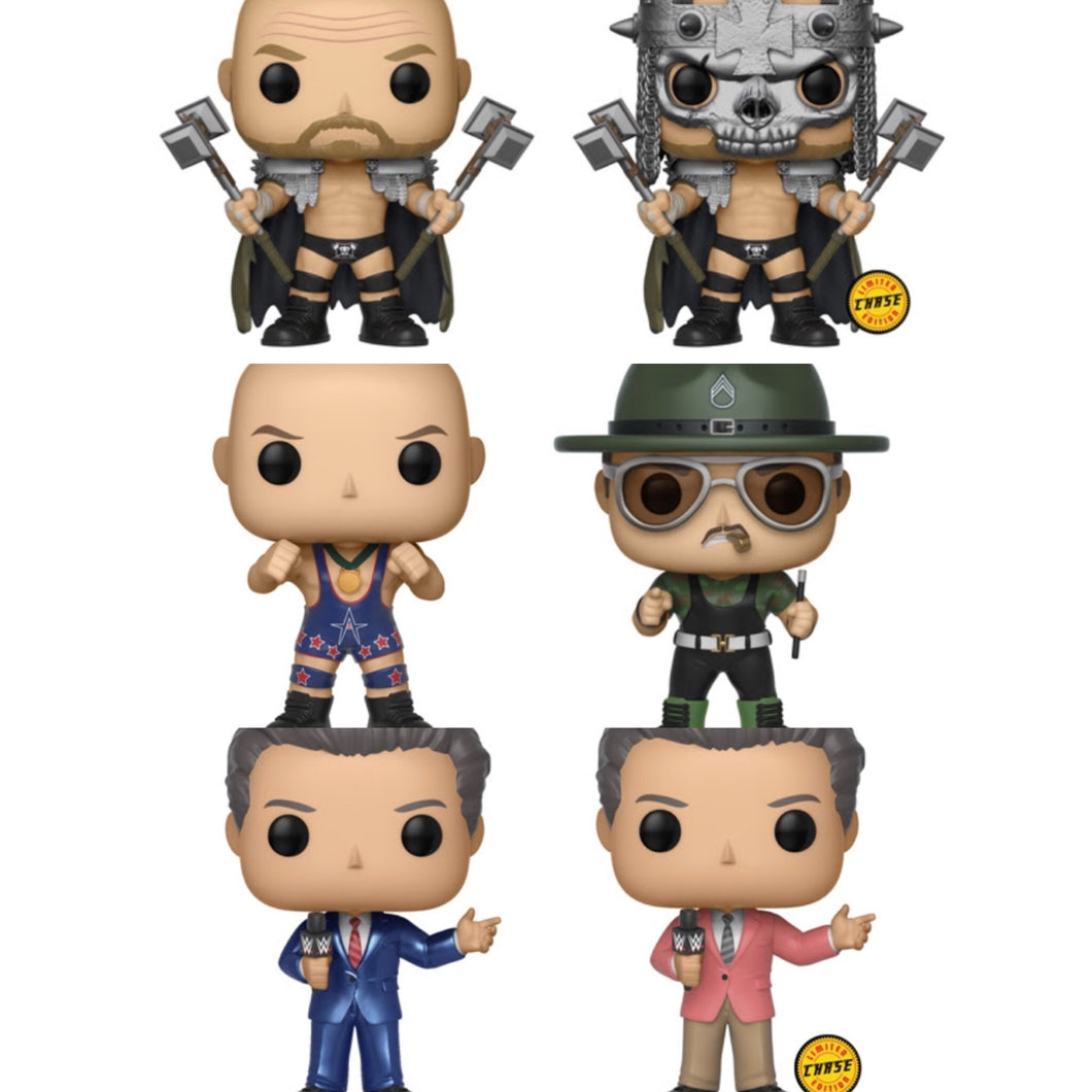 Complete Set of 6 (including both Chases) - WWE - Funko Pop Vinyl Figure - JUNE