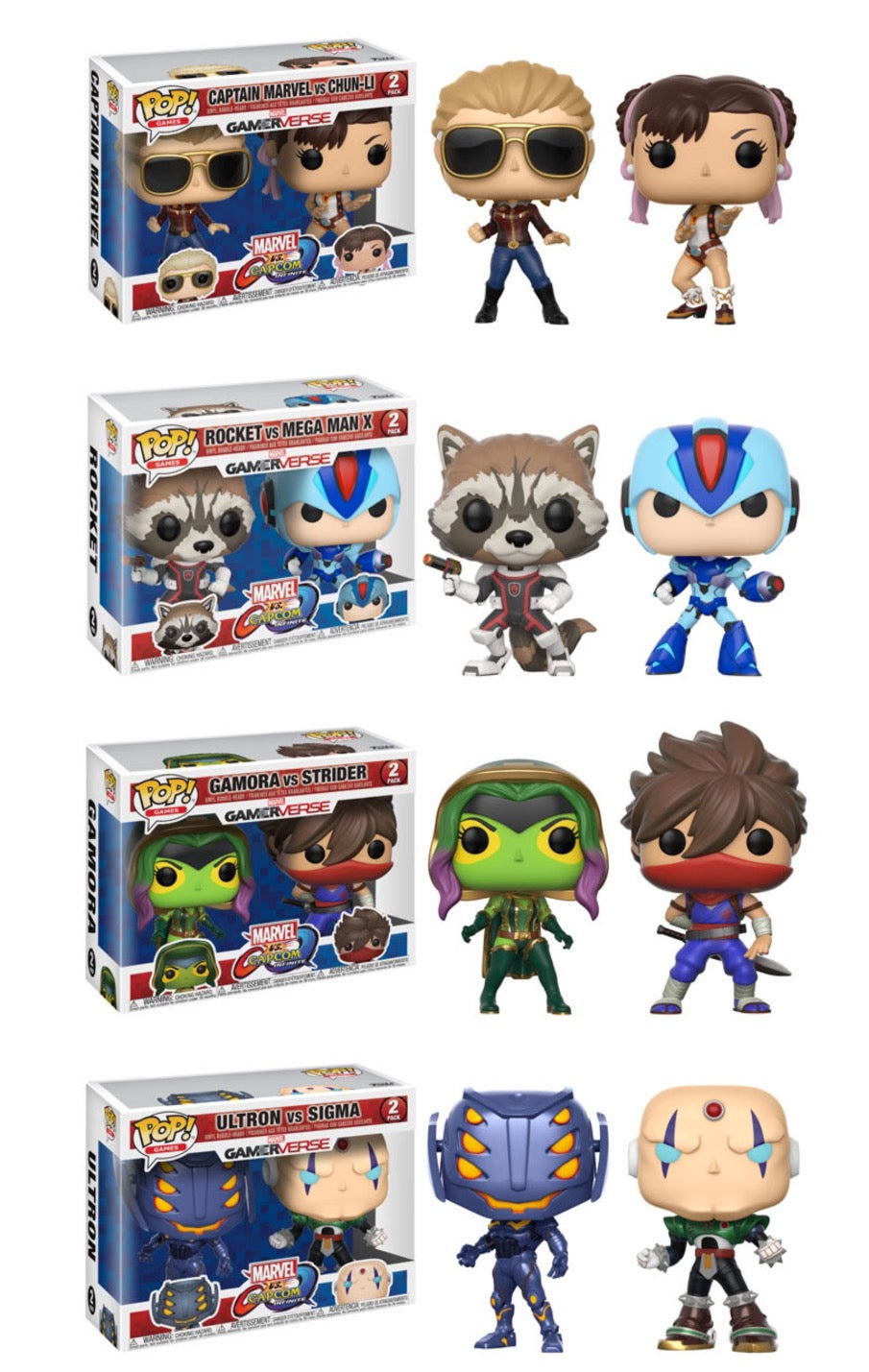 Set of 4 - Marvel vs Capcom 2 Packs - Funko Pop Vinyl Figures