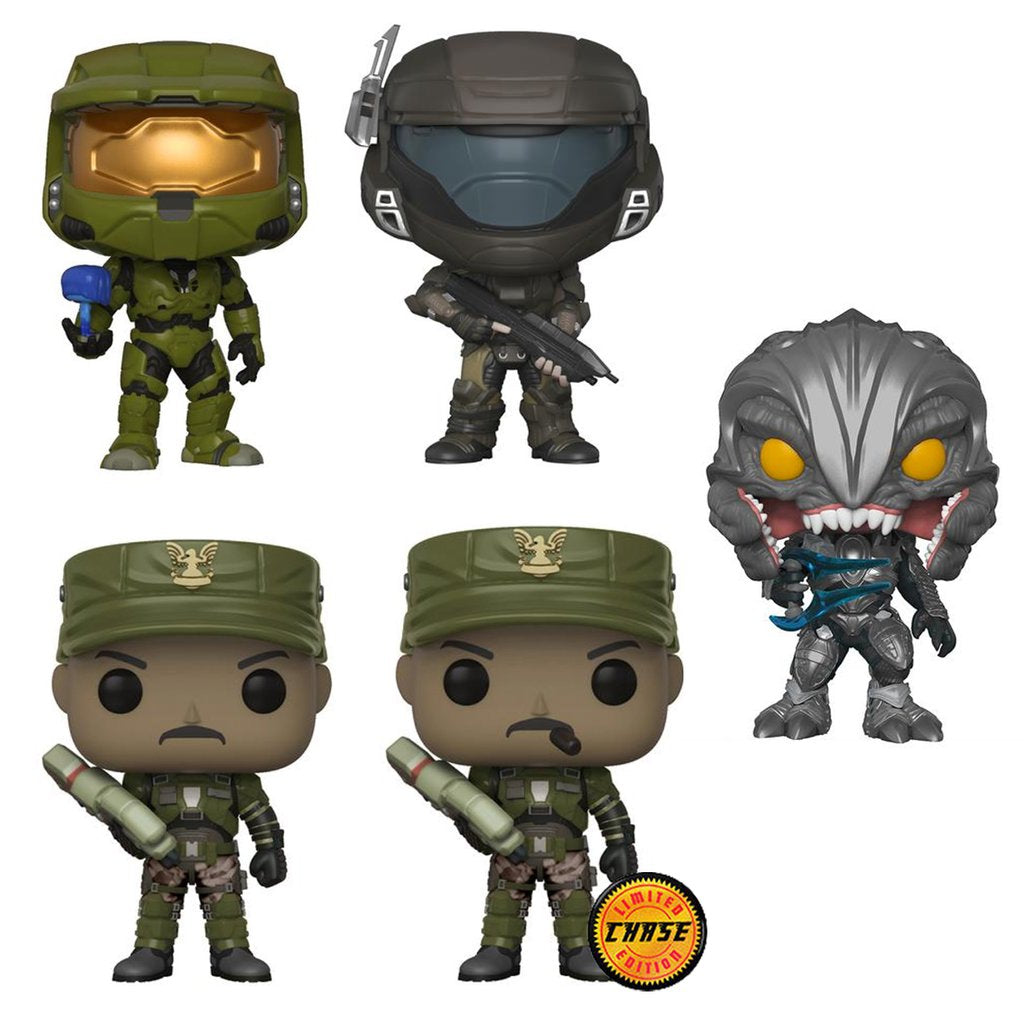Complete Set of 5 including Chase - Halo - Funko Pop Vinyl Figures - 2018