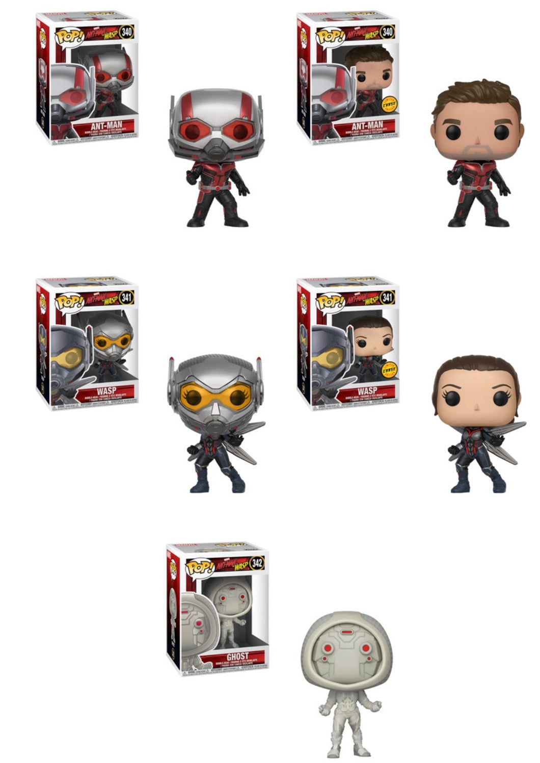 Set of 5 with Chases - Marvel Ant-Man & The Wasp - Funko Pop Vinyl - SUMMER