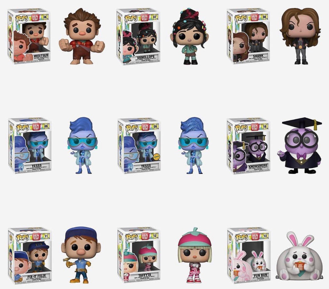 Bundle/Set of 9 - Wreck It Ralph 2 - Funko Pop! Vinyl Figure - OCTOBER