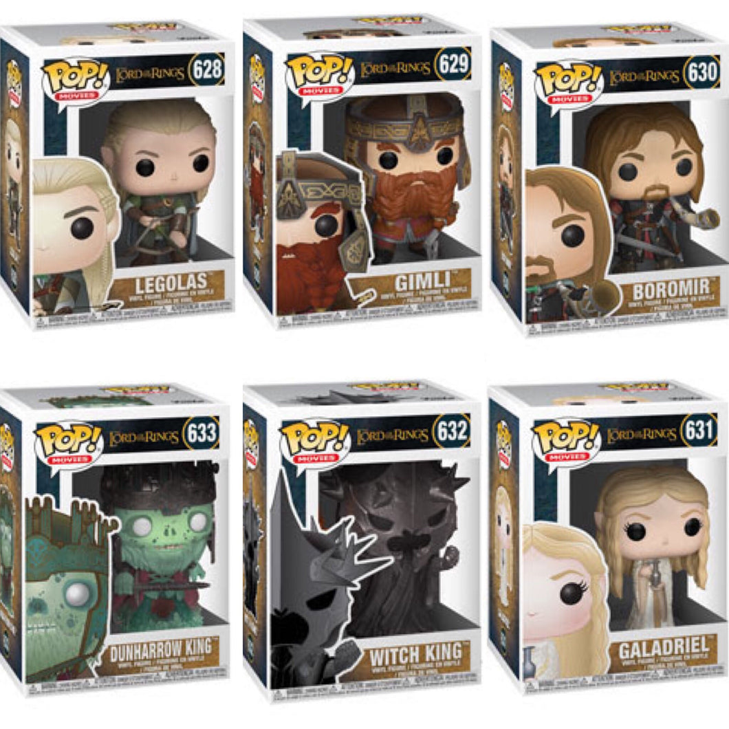 Set of 6 - Lord of the Rings - Funko Pop Vinyl NOVEMBER
