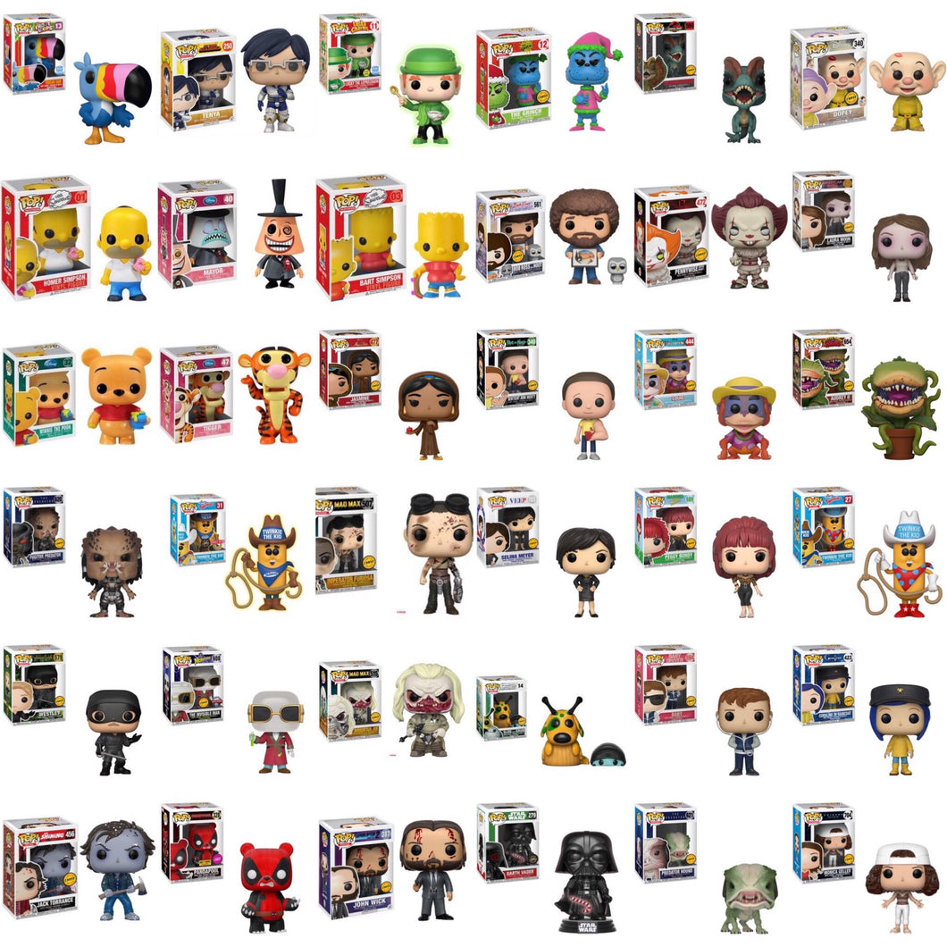 Grail Super Mystery Box of 2 Random Funko Pop Vinyl Figures - Guaranteed Chase or Vaulted Pop