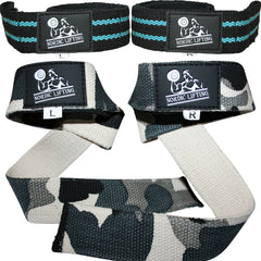Aqua Blue + Camo Grey Lifting Straps