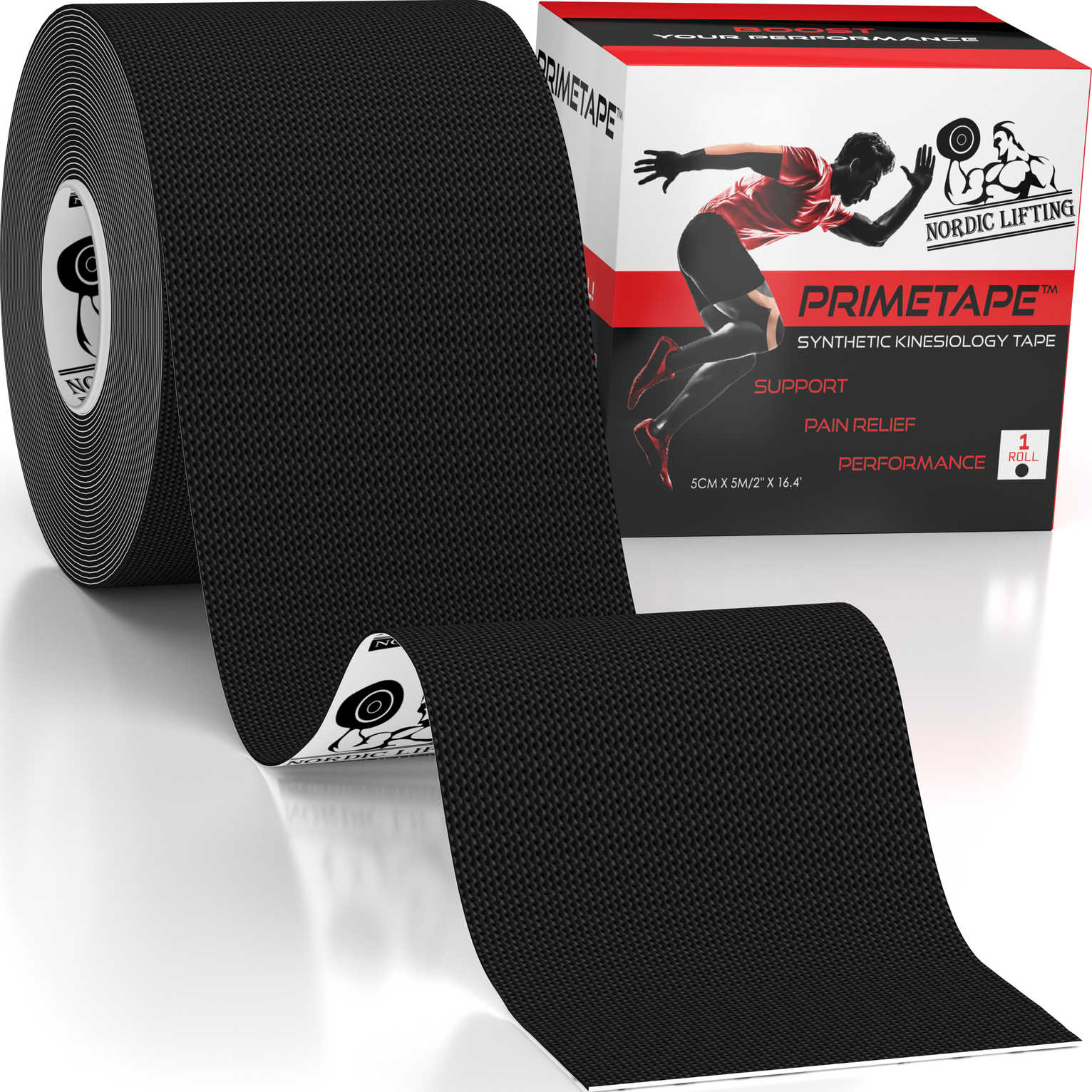 Black 1-pack Kinesiology Tape - PrimeTape