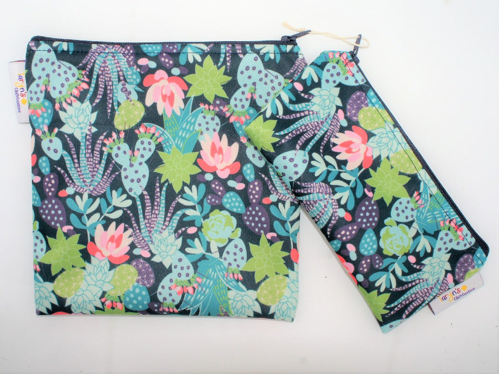 "NEW (Boutique Item) - Reusable Snack bag set ""Flowering Cacti"".  Locally made.  Read more below"