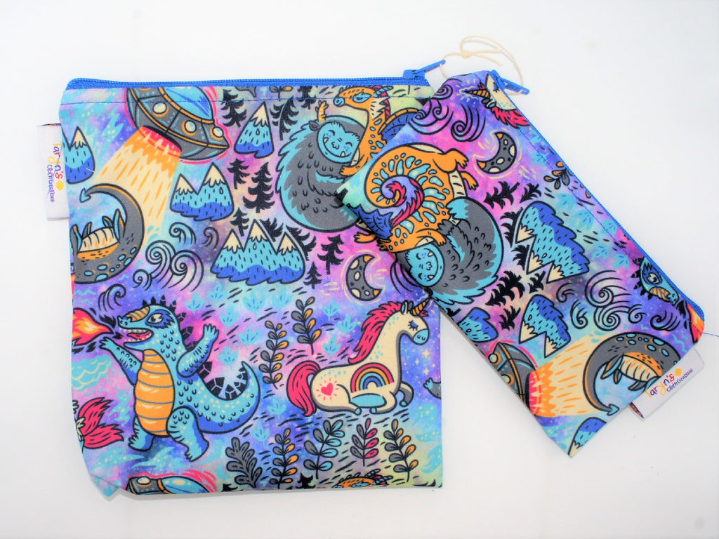 "NEW (Boutique Item) - Reusable Snack bag set ""Mythical Creatures"".  Locally made.  Read more below"