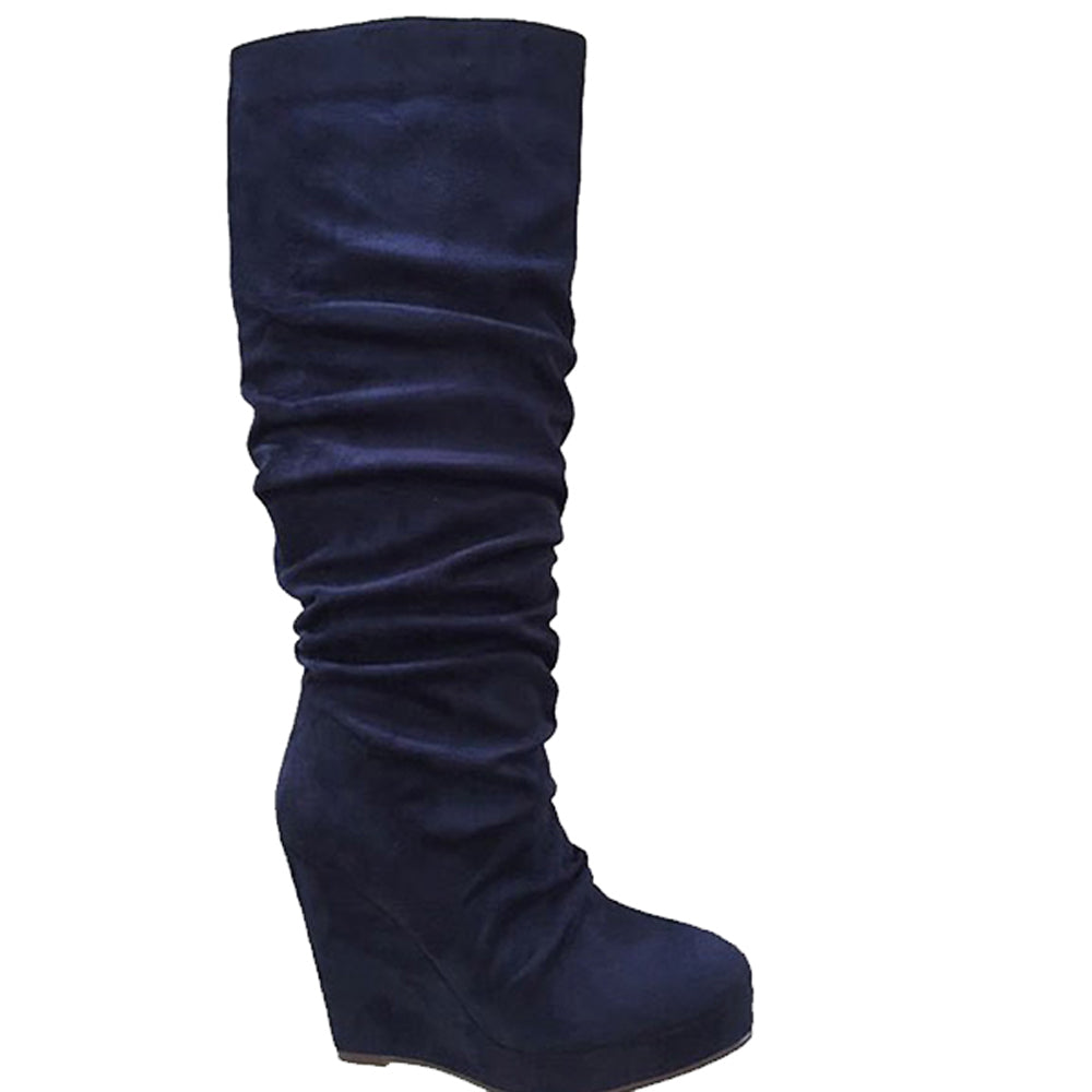 Emma Blue Wedge Boots