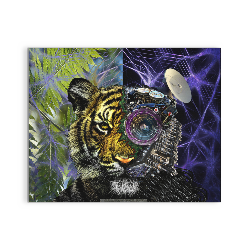 Bionic Tiger Canvas Cool Animal Artwork Jud Hayden Art