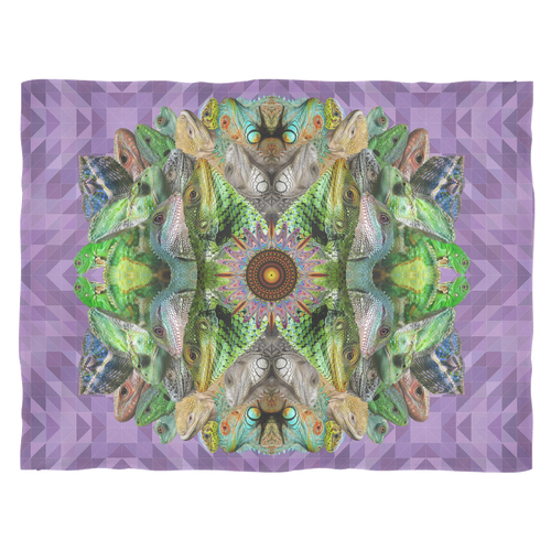 Lizard Mandala Fleece Blanket - Jud Hayden Art
