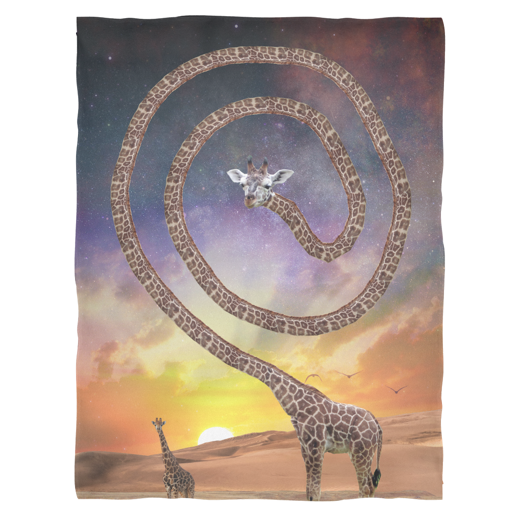 Spun Giraffe Fleece Blanket - Jud Hayden Art