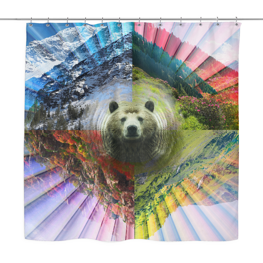 PLUR Bear Shower Curtain - Jud Hayden Art