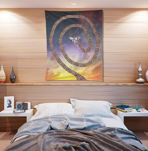 Sunset Sky Tapestry- Spun Giraffe Design Wall Hanging- Star-y Animal Wall Art- Children's Room Wall Decor- Funny Wall Art- Quirky Home Decor - Jud Hayden Art