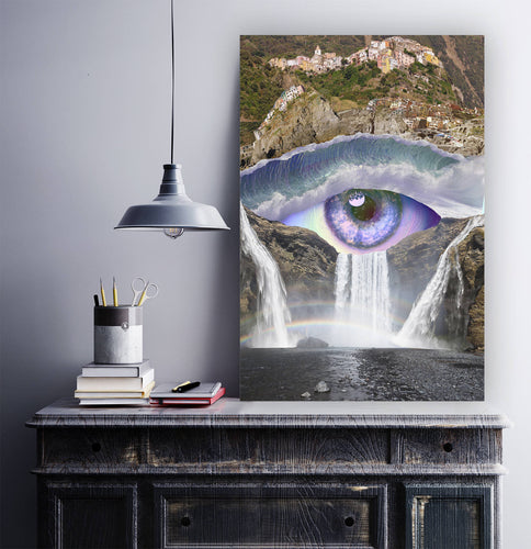 Iris Falls Canvas Art- Eye Artwork- Waterfall Canvas Print- Nature Wall Art- Blue Canvas Print- Third Eye Wall Decor- Small / Large - Jud Hayden Art
