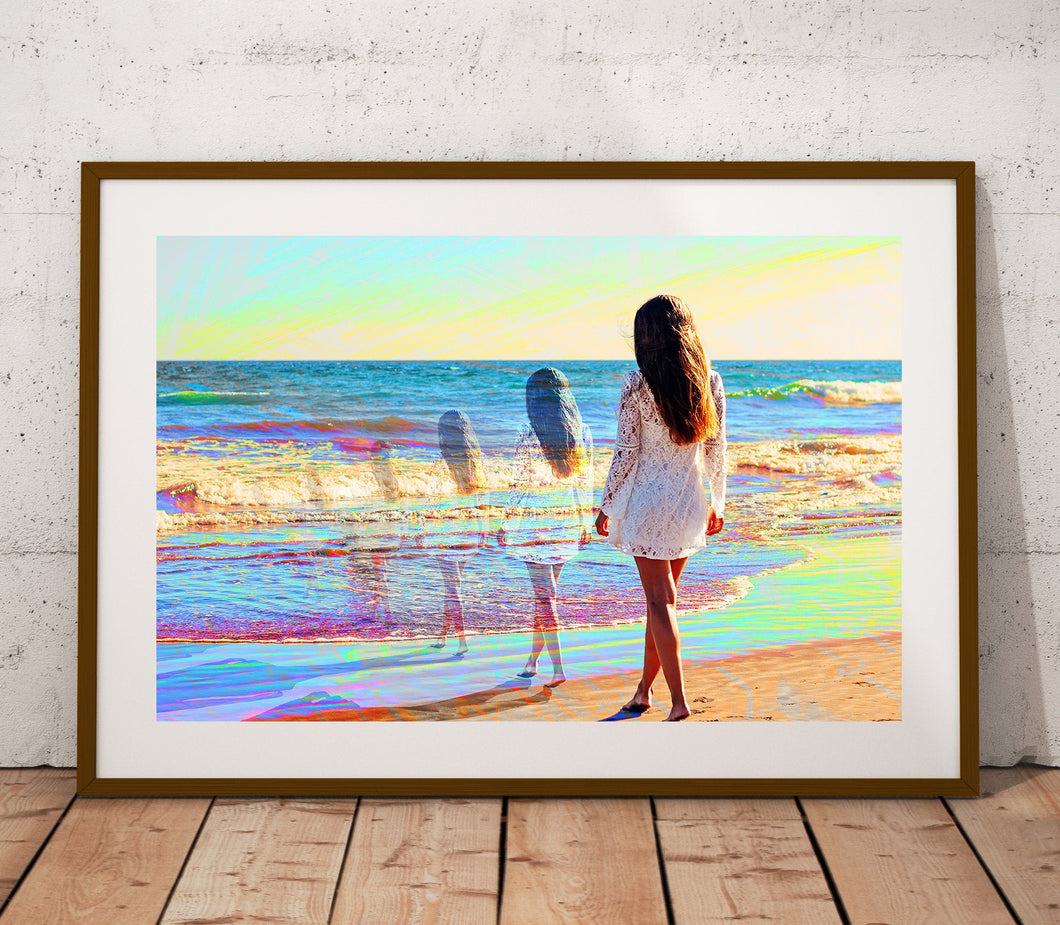 Water Trails Poster Print- Beach Sunset Wall Art- Bright Artwork- Blue Wall Print- Large or Small Wall Art- Girl Poster- Wall Home Decor - Jud Hayden Art