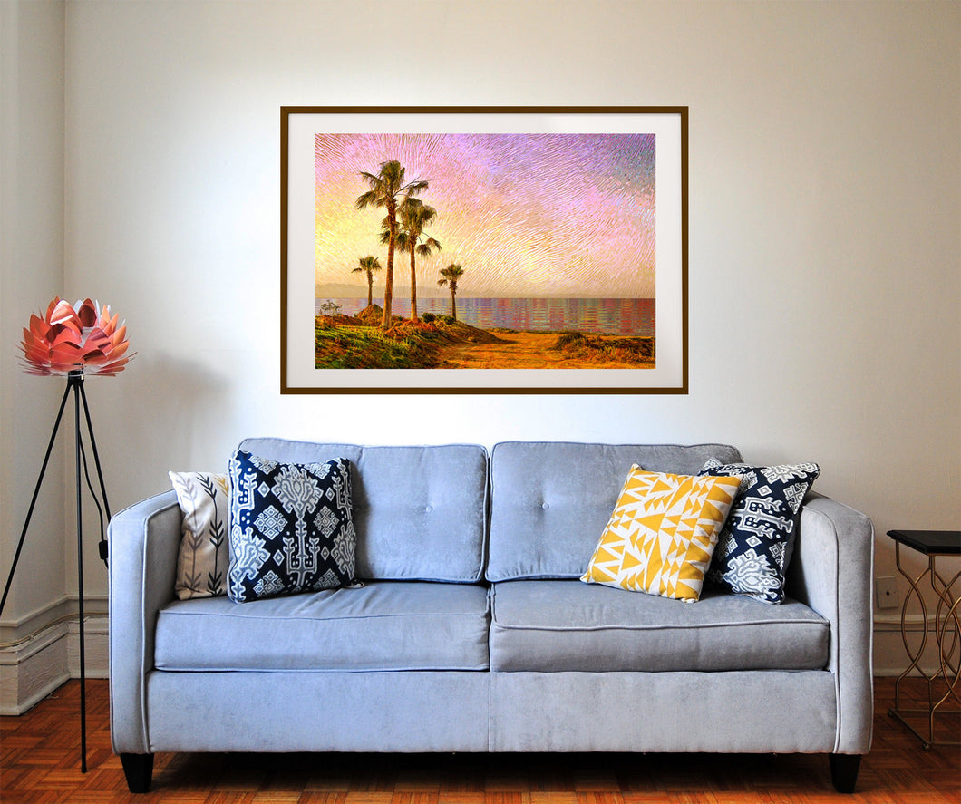 Pacific Palms Poster- Ocean Print- Beach Wall Decor- Trippy Wall Art- California Boho Wall Art- Palm Tree Wall Print- Nature Wall Art - Jud Hayden Art