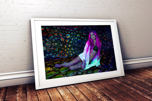 Neon Mirage Poster- Trippy Psychedelic Model Design- Cool Patterns Print- Vivid Colors Print- Purple Rainbow Budget Wall Art- 11x17 24x36 - Jud Hayden Art