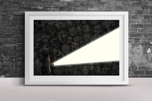 Lighting the Way Poster Print- Dark Character Horror Character Print- Scream Saw Flashlight Image Design Fine Wall Art Frameless 24x36 11x17 - Jud Hayden Art