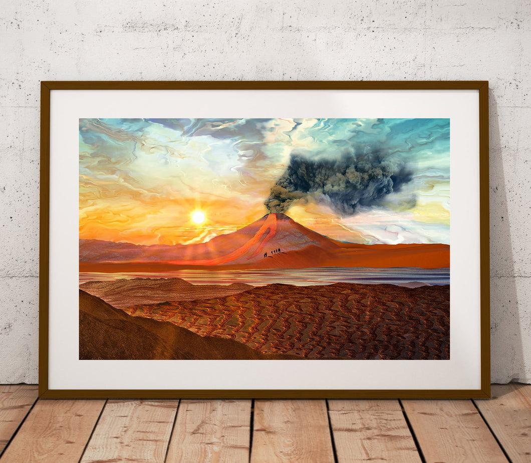 Lava Flow Poster Print- Mountain Poster Art- Pastel Art Print- Scenic Wall Poster- Nature Landscape Wall Art- Sand Wall Print- 11x17 24x36 - Jud Hayden Art