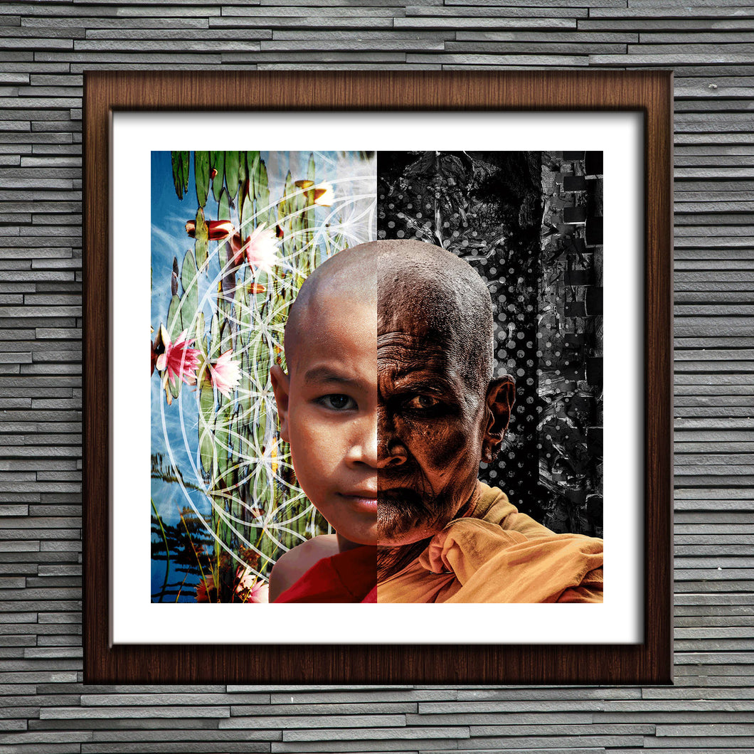 Jaded Age Poster Print- Buddhist Monk Print- Lotus Infinite Flower Poster- Zen Wall Art- Dark and Light Poster- Oriental Wall Art- Wall Art - Jud Hayden Art