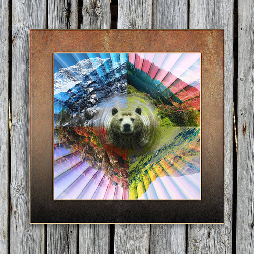 PLUR Bear Poster- Seasonal Wall Art- Nature Art Poster Print- Mountain Landscape Print- Bear Wall Decor- Colorful Poster Print- Nature Wall - Jud Hayden Art