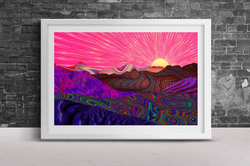 Trippy Trek Poster Print- Psychedelic Rainbow Landscape Design Striped Hills Pattern- Sun Wall Art- Sunset Geometric Fine Art 24x36 & 11x17 - Jud Hayden Art