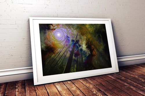 Solar Shapes Poster Print- Tree Wall Poster- Bamboo Wall Art- Green Yellow and Purple Wall Decor- Trippy Psychedelic Wall Art- 24x36 11x17 - Jud Hayden Art