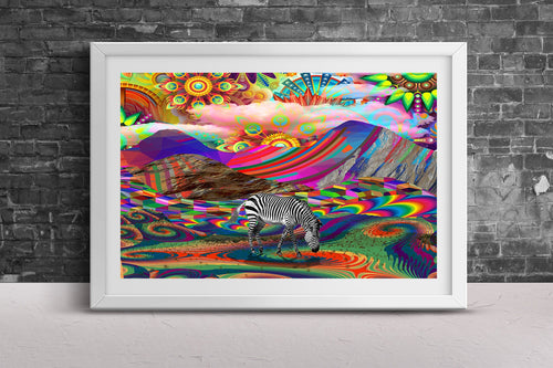 Rainbow Land Print- Psychedelic Neon Poster- Zebra Print- Trippy Wall Print- Landscape Wall Print- Colorful Wall Decor- Poster 11x17 24x36 - Jud Hayden Art