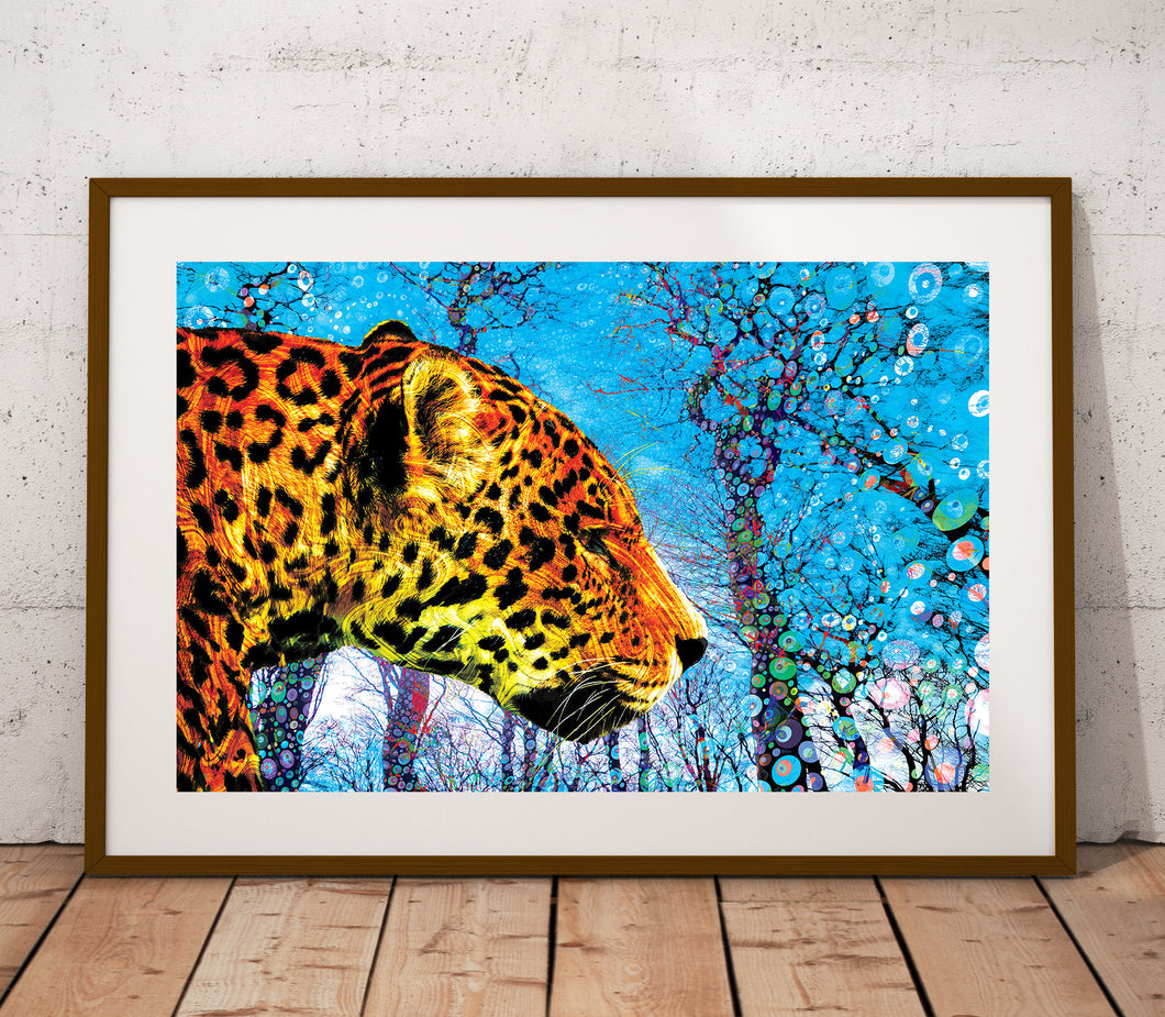 Prowling Paws Poster- Jungle Cat Print- Psychedelic Print- Nature Poster Wall Art- Animal Art- Nature Trees Landscape Print- 24x36 11x17 - Jud Hayden Art