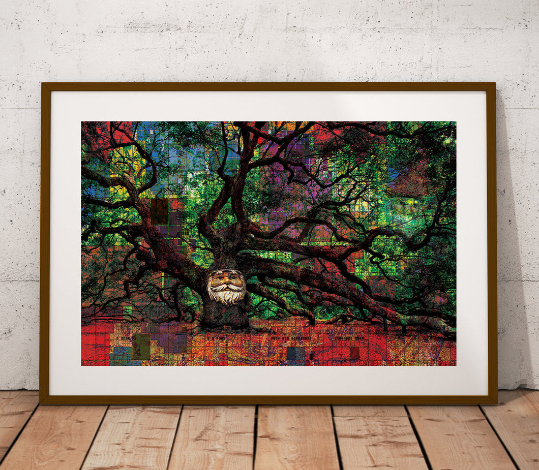 Mr. Tree Poster Print- Mystical Poster Print- Psychedelic Wall Art- Tree Poster- Green Red Wall Art- Nature Wall Decor- Trippy Poster Print - Jud Hayden Art