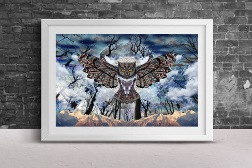 Moon Owl Poster- Blue Poster Print- Owl Home Decor- Animal Wall Decor- Cloud Poster Art- Forest Animal Home Decor- Intricate Dark Artwork - Jud Hayden Art