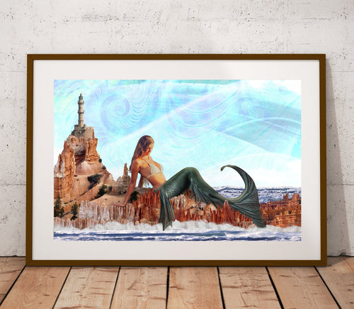 Mermaid Poster Print- Light Blue Fractal Poster- Beachy Sandcastle Wall Art- Ocean Print- Trippy Design- Amazing Island- 11x17 24x36 inches - Jud Hayden Art