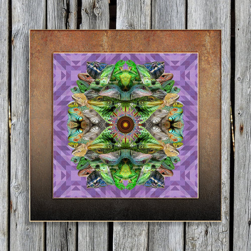 Lizard Mandala Poster Print- Boho Desert Decor- Purple Green Reptile Wall Art - Cool Animal Design- Hippie Fine Art- Frameless 24x24 17x17 - Jud Hayden Art