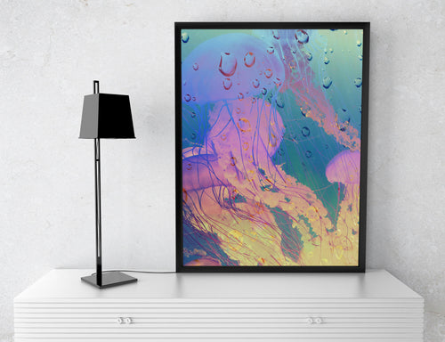 Jelly Poster Print- Pink Blue Poster- Psychedelic Animal Print- Underwater Image Poster Print- Bubble Wall Art- Jellyfish Wall Hanging - Jud Hayden Art