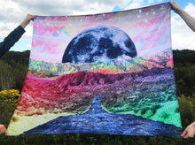 Stellar Path Moon Tapestry Wall Hanging  | Colorful Hippie Tapestry | Rainbow College Dorm | Psychedelic Rainbow Mountain | Trippy Landscape - Jud Hayden Art