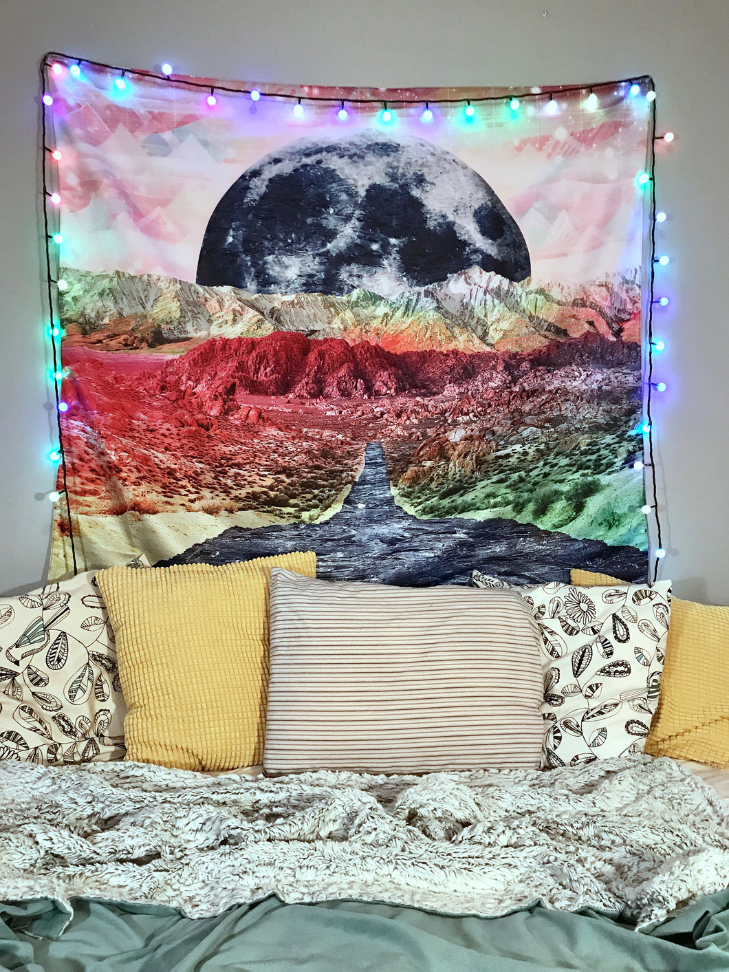 Night Moon Mountain Hippie Tapestry Room Bedspread Wall Hanging Throw Tapestries