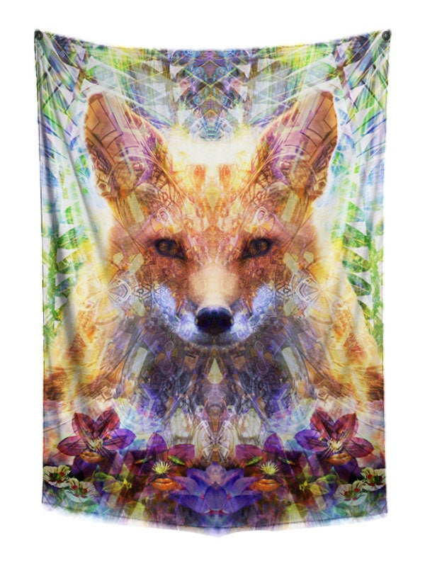 Divine Fox Tapestry | Animal Tapestry | Wall Hanging | Premium Wall Art | College Dorm Tapestry | Trippy Wall Decor | Large Orange Tapestry - Jud Hayden Art