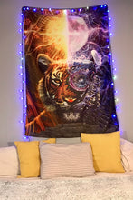 Two Tigers Tapestry Wall Hanging | Tiger College Dorm Tapestry | Animal Wall Art | Orange Fractal Wall Decor | Premium Moon and Sun Tapestry - Jud Hayden Art