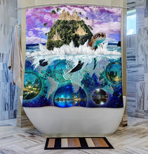 Kid's Shower Curtain- Turtle World Map Shower Curtain- Island Design- Beach Bathroom Decor- Shower Rings Included- Standard Size 72 x 72 in. - Jud Hayden Art