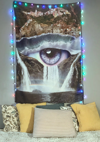 Iris Falls Tapestry | Large Blue Eye Door Curtain | Waterfall Ocean Dorm Bedroom Decor | Cool Nature Wall Art | Psychedelic Vertical Artwork - Jud Hayden Art