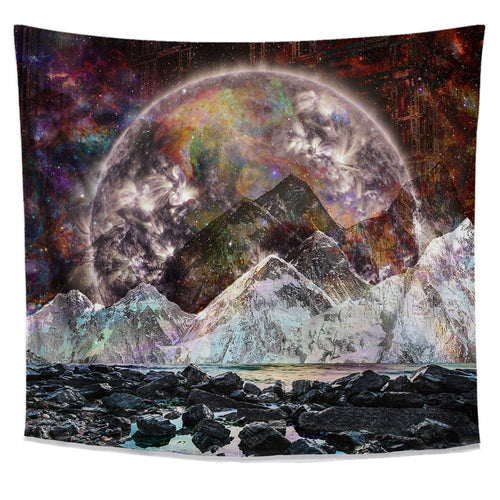 Cosmic View Moon Tapestry Wall Hanging - Dark Dorm Space Room Decor- Psychedelic College Bedroom-  Galaxy Wall Art- Mountain Wall Tapestry- - Jud Hayden Art