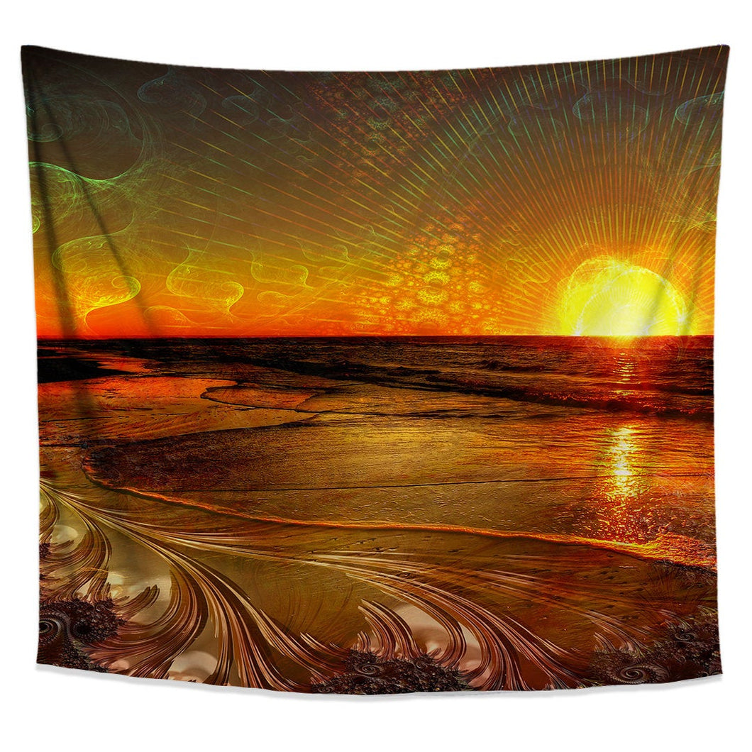 Fractal Sunset Tapestry- Psychedelic Beach Dorm Decor- Bohemian Bedroom Wall Hanging- Wave Tapestry- Sunset Art- Ocean College Wall Decor - Jud Hayden Art